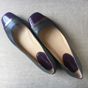 Gray and purple patent leather ballet flats